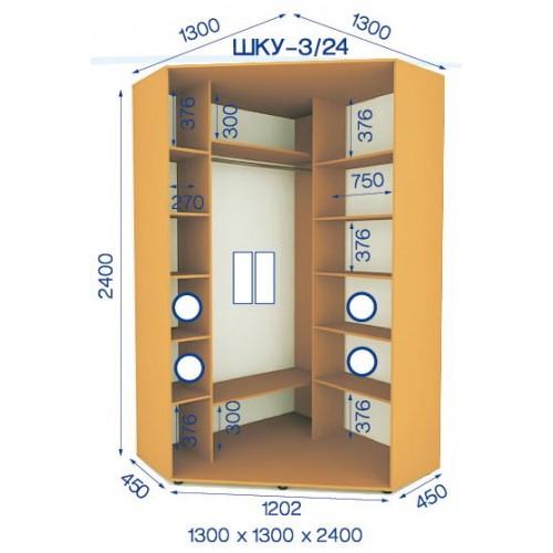 Шкаф купе угловой HKU-3/24 (Стандарт) - Мебельный интернет-магазин Sensey-mebel приобрести
