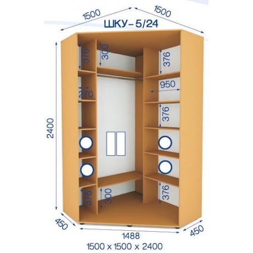 Шкаф купе угловой HKU-5/24 (Стандарт) - Мебельный интернет-магазин Sensey-mebel приобрести